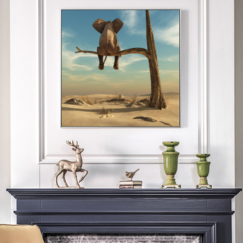 Elephant Sits On Tree Branch Surrealism Painting Printed on Canvas 2