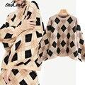 2019 winter pullover frauen pull femme england vintage Geometrische jacquard plaid oversize lose pullover frauen pullover tops
