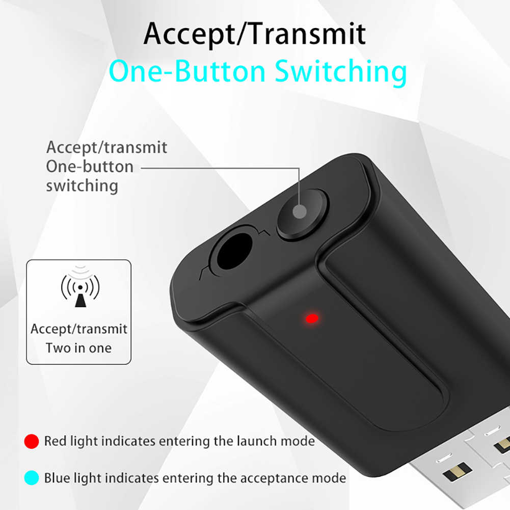 Bluetooth 5.0 Transmitter Receiver TV 2-In-1 3.5 Mm Aux Hi Fi Stereo Audio USB Mini Wireless Adapter untuk Speaker mobil PC Baru