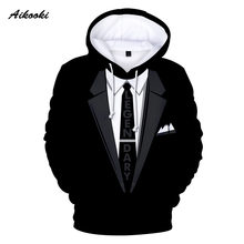 Aikooki Formal suit 3D Hoodie Sweatshirt Boys/girls Fun Pullover Casual Brand Sportswear Tracksuit Spring Autumn Male 3d Hoodies(China)