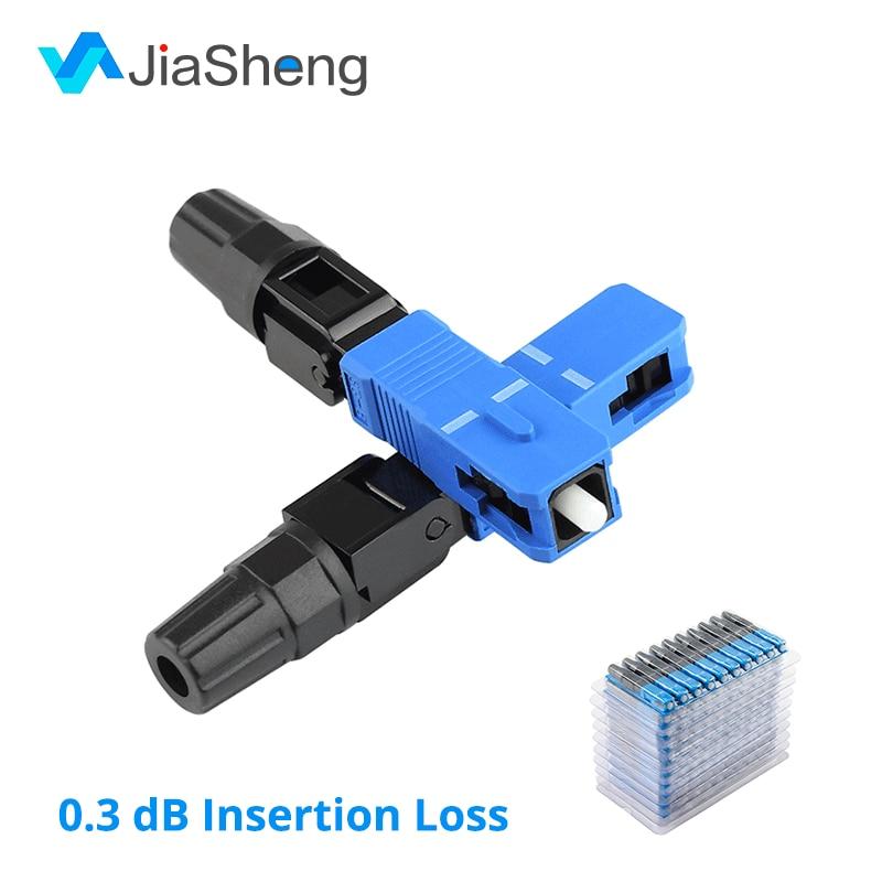 100pcs/Box 0.3dB New SC Optic Fiber Fast Connector FTTH SC/UPC -D Single Mode Quick Connector Free Shipping