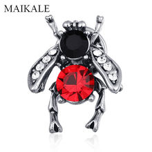 MAIKALE Vintage Bee Brooch Pins Charm Insect Brooches for Women Kids Cloth Shawl Shirt Badge Bag Accessories Halloween Gifts(China)