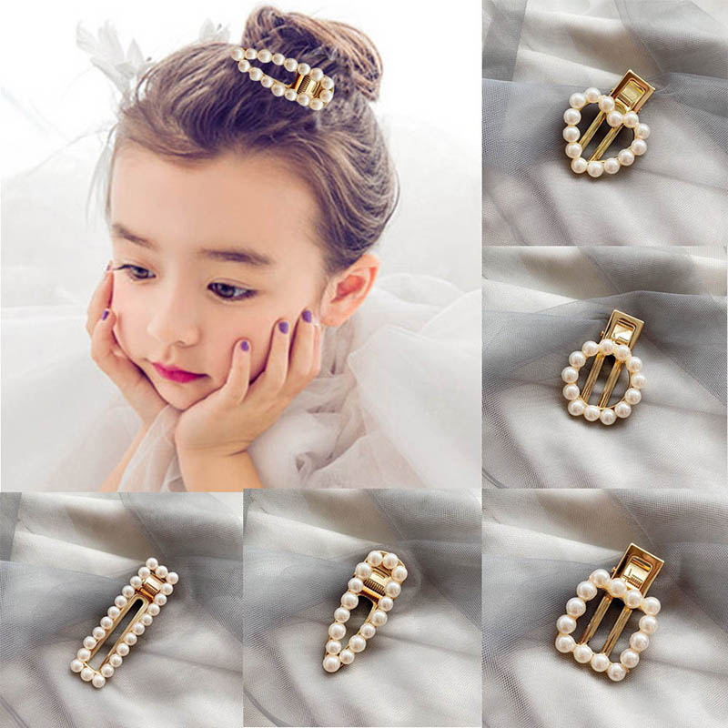 Girls Hair Clips Cute Pearl Hair Pin Children Hairpin Princess Hair Accessories 3-16T Toddler Girls Lovely Hair Clip