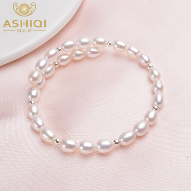 ASHIQI Genuine Natural Pearl Bracelet Bangle 925 Sterling Silver Beads For Women 6-7mm Freshwater Pearl Jewelry Wedding Gifts