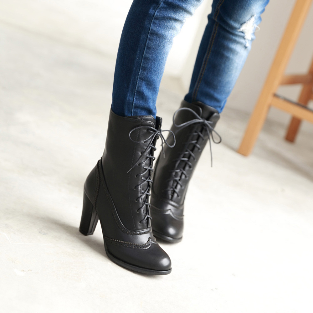Image 2 - Women Boots Sexy Lace up Boots Ladies Classic Pointed Leather Lace Up High Heeled Boots Middle Tube Boots Square Heel ShoesAnkle Boots   -