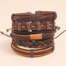 AJC модные сапоги в панковском стиле, сапоги в стиле кожаный плетеный браслет DIY5-piece мужские ювелирные изделия комбинации браслет