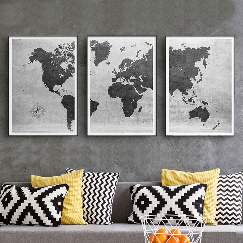 Vintage World Map Canvas Painting Print Poster Wall Art Pictures For Living Room Dorm Modern Home Decoration Murals