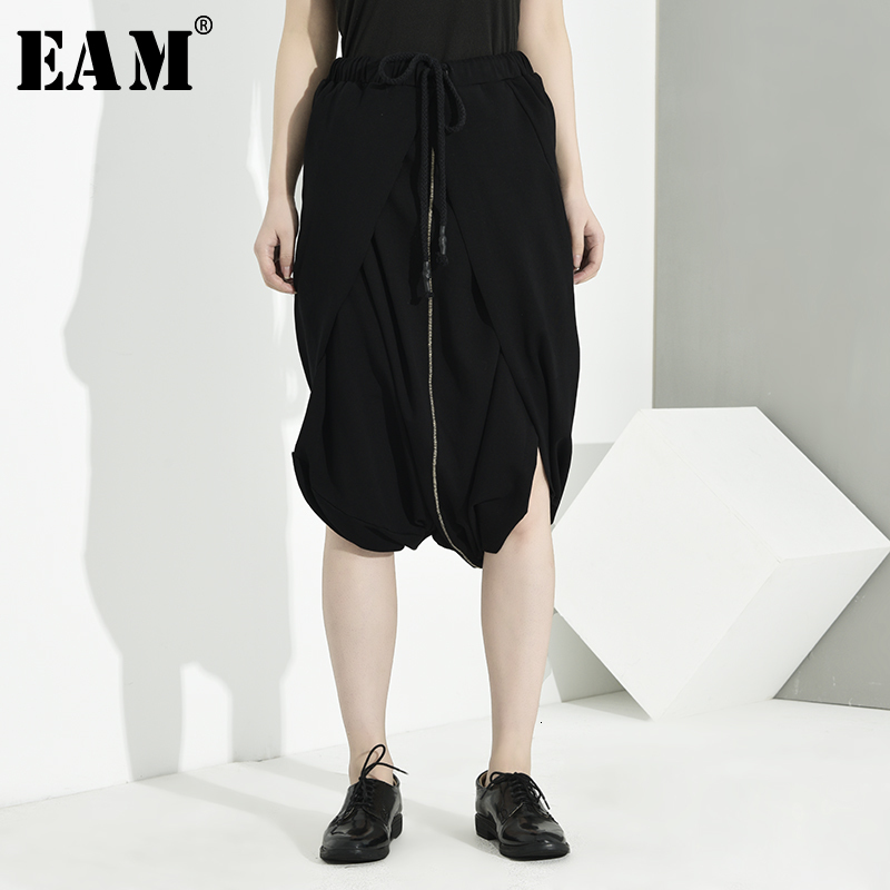 [EAM] High Elastic Waist Black Vent Split Temperament Trousers New Loose Fit Pants Women Fashion Tide Spring Autumn 2020 LA9320