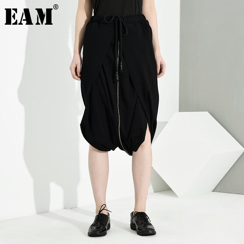 [EAM] High Elastic Waist Black Vent Split Temperament Trousers New Loose Fit Pants Women Fashion Tide Spring Autumn 2020 LA9320