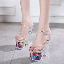 34 43 Ladies Big Size Sandals with Platform Peeptoes Transparent Heels Summer Party High Platform Sandals Sexy Stripper Heels