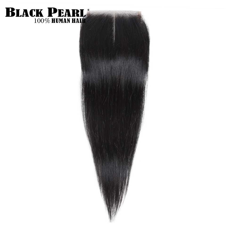 H24db42399b8f4c74b0036ca8f95d823fn Black Pearl Pre-Colored 3 Bundles with Closure Straight Human Hair Bundles with Closure Brazilian Hair Weave Bundles