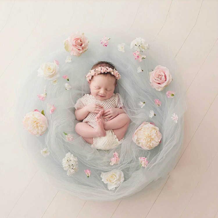 Fotografía de recién nacido suave hilo de fondo de bebé manta de flores artificiales decoración de sesión de bebé accesorios de flores infantiles Accesorios