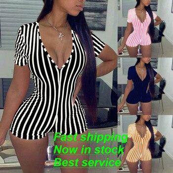 Women Sexy V Neck Shorts Romper Jumpsuit One Piece Bodycon Pajama Sleepwear Long Sleeve Bodysuit Overall Summer