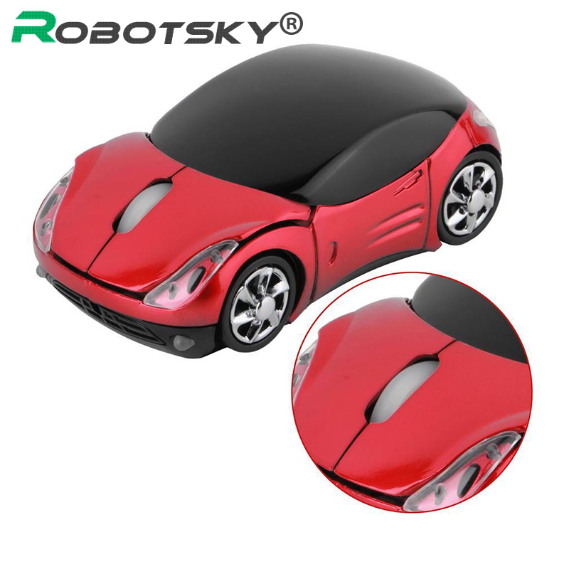 Robotsky 1600DPI Wireless Mouse Creative Sports Car Smart USB 2.4G Mice Office Gaming Business Optical Mouse Computer Peripheral