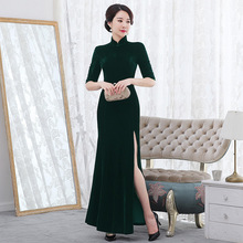 Vestido デ · デビュタント冬の新改良されたフィッシュテイルスリムベルベットチャイナハイエンドレトロファッションメーカー直接スカート女性