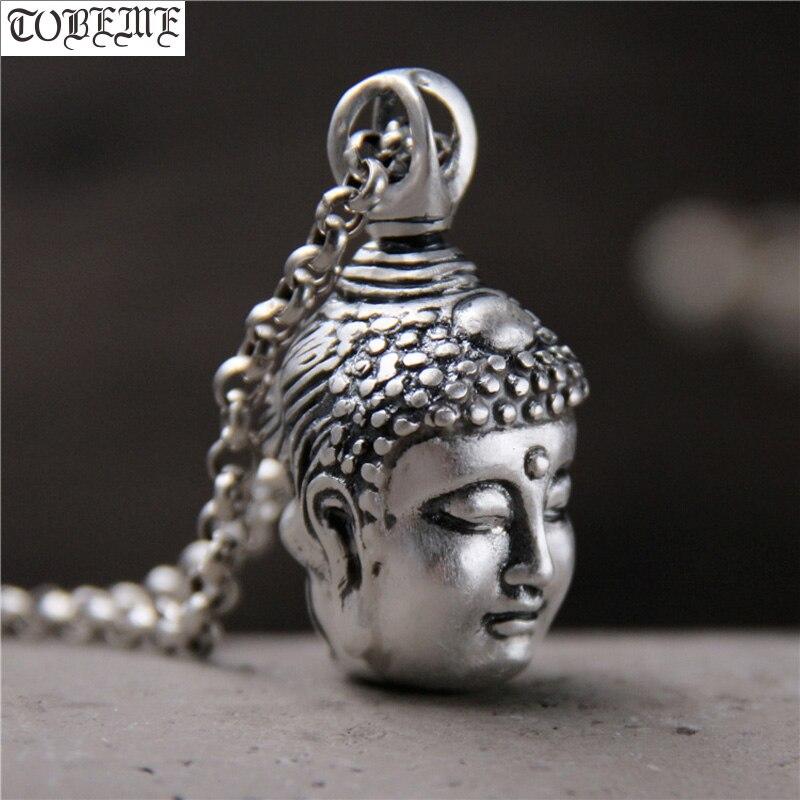 Fabriqué à la main 100% 999 pendentif tête de bouddha en argent pur Vintage Statue de bouddha pendentif amulette bouddha et diable homme pendentif