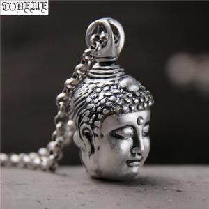 Image 1 - Handcrafted 100% 999 Silver Buddha Head Pendant Vintage Pure Silver Buddha Statue Amulet Pendant Buddha & Devil Man Pendant