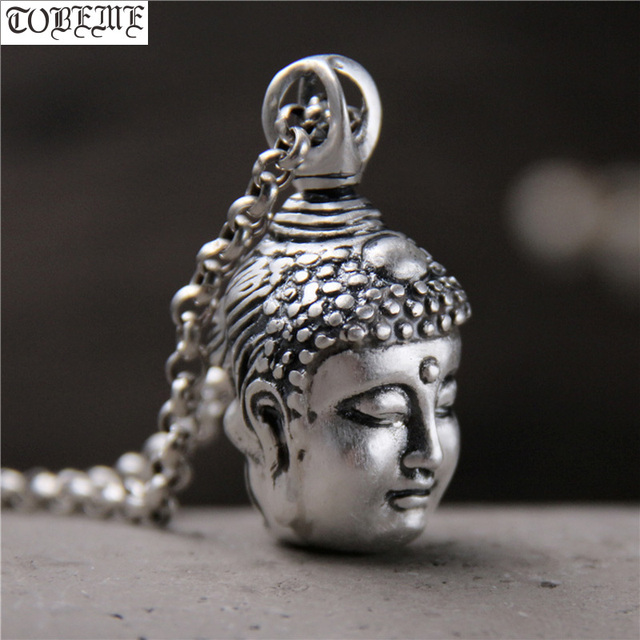 Handcrafted 100% 999 Silver Buddha Head Pendant Vintage Pure Silver Buddha Statue Amulet Pendant Buddha & Devil Man Pendant