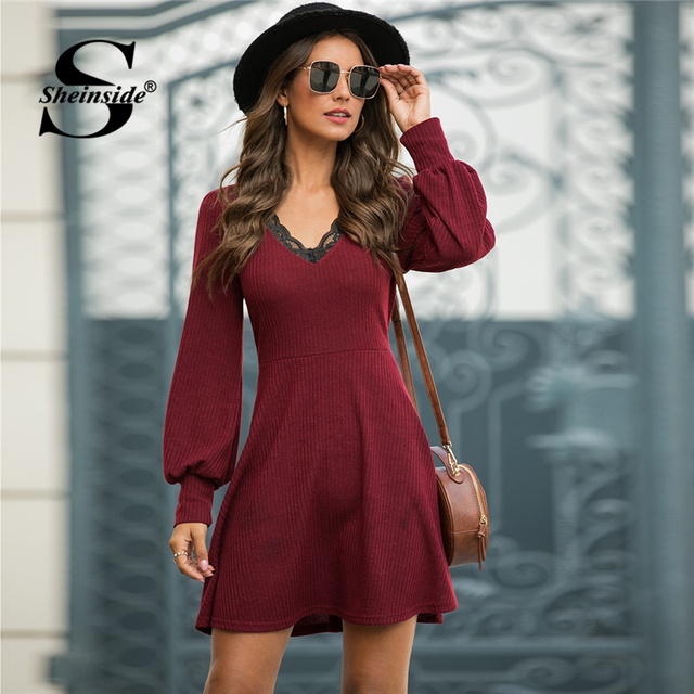 Casual Contrast Lace V Neck Dress Women 2020 Spring