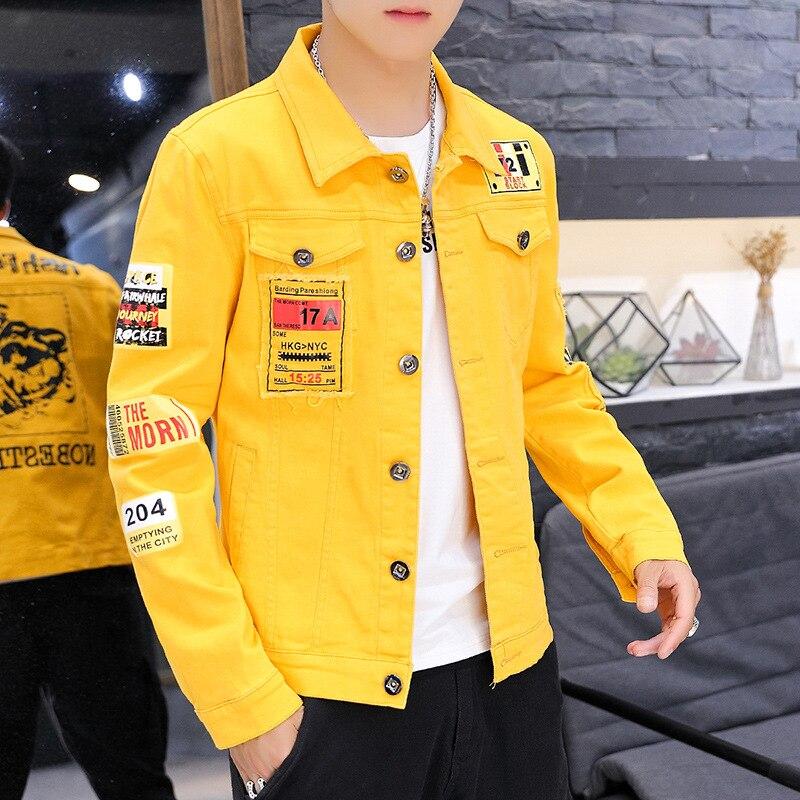Хип-хоп джинсы пальто мужчины весна осень новый стиль отложной воротник джинсовая куртка Мужская Красивая ковбойская одежда