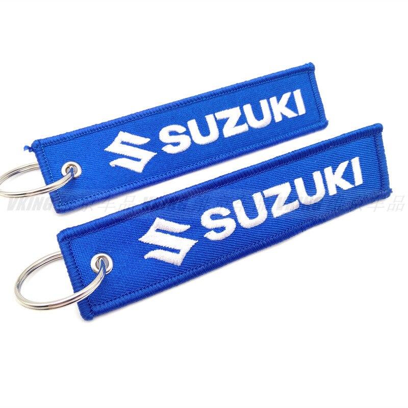 Модный брелок с вышивкой, брелки, цепочки, персонализированные подарки, брелок с логотипом автомобиля для Suzuki, автомобильный брелок
