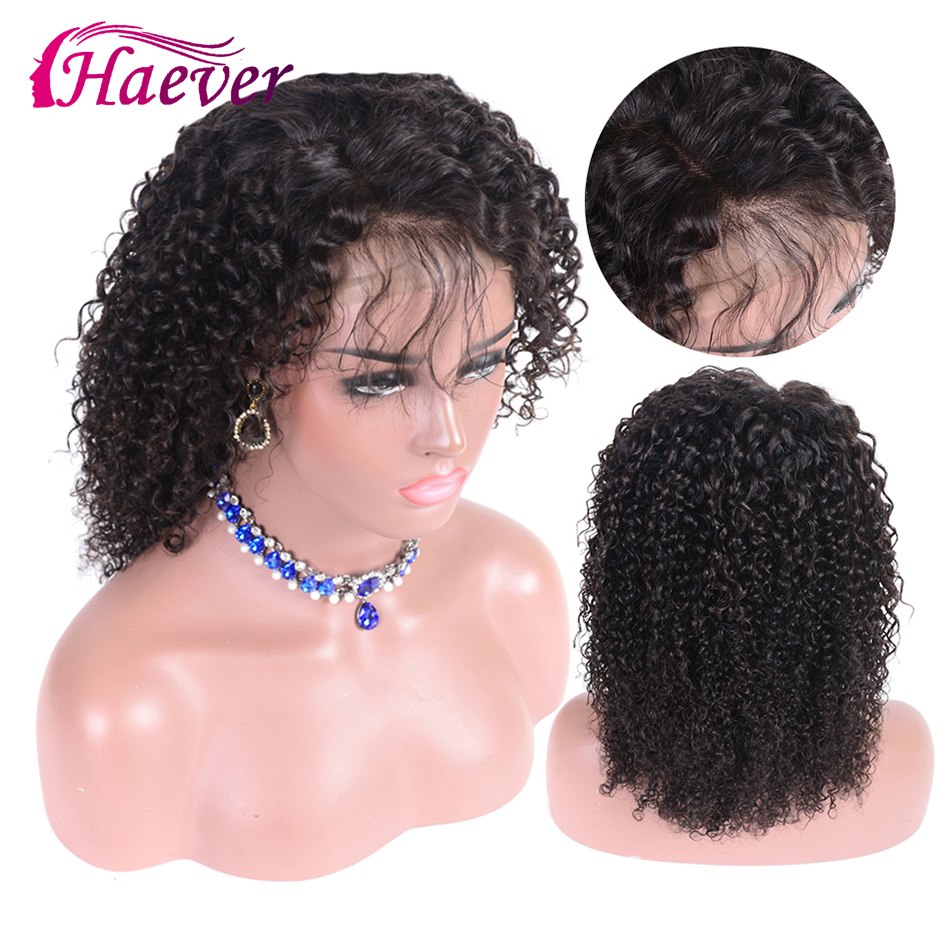 Haever Lace Front Short Bob Wig With Baby Hair Brazilian Curly Human Hair Wig 13*4 Pre Plucked 150% Density Kinky Curly Wig
