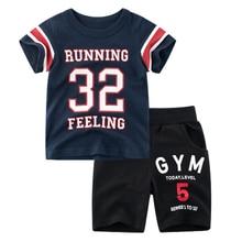 цена на BINIDUCKLING 2020 Summer Baby Boys Kids Clothing Sets Sport Style T-shirt+Shorts Toddler Cotton Children Boy Clothes Set 2T-7T
