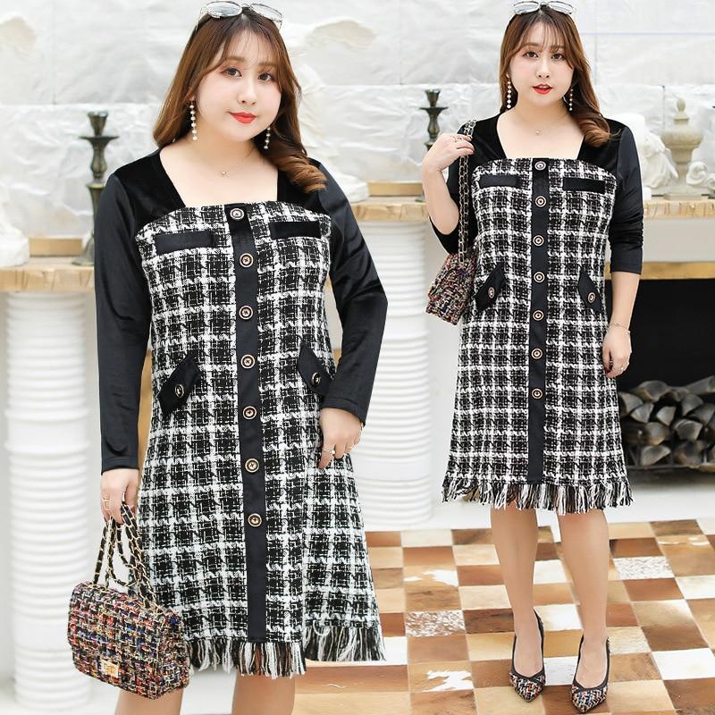 Spring New Style Large GIRL'S Large Size Dress Plus-sized Elegant Joint Velvet Dress A Generation Of Fat 1668