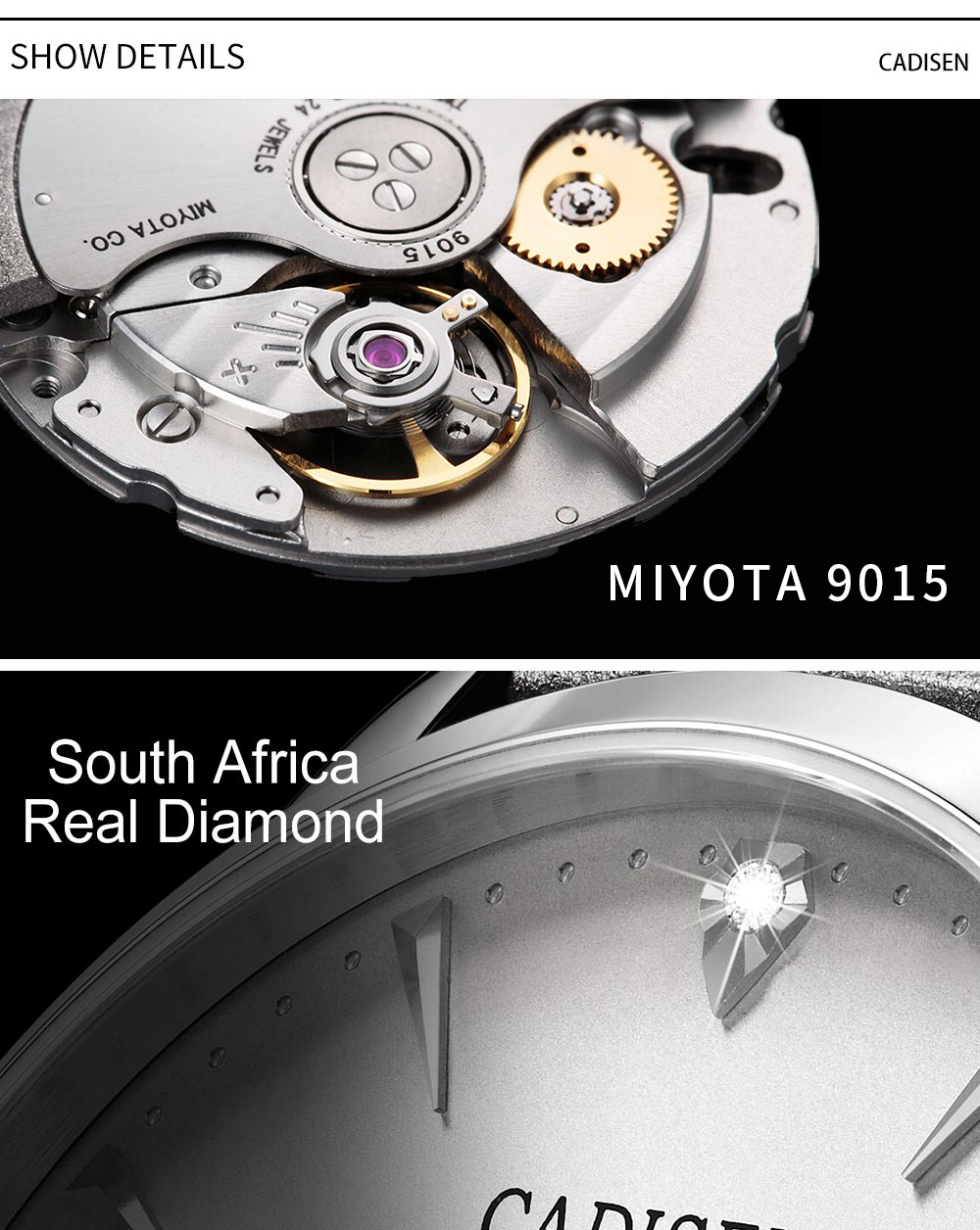 H24dc34103e11426f89b6a654c7f1c472L CADISEN Men Watches Automatic Mechanical Wrist Watch MIYOTA 9015 Top Brand Luxury Real Diamond Watch Curved Sapphire Glass Clock