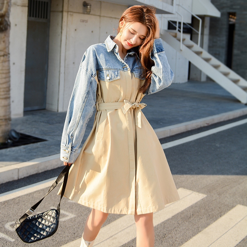 2020 New Spring Trench Coat High Quality Turn-down Collar Full Sleeves Denim Patchwork Kahki With Belts Female Windbreaker FY72
