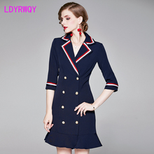 2019 autumn and winter navy double-breasted temperament suit collar slim heavy work ribbon fishtail dress