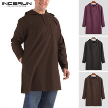 INCERUN Mens Moslem T-Shirts Hooded Long Sleeve Button Solid Color Retro Tops Dubai Saudi Arabia Islamic Longline T Shirt 2019