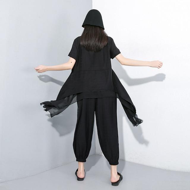 [EAM] 2021 New Spring Autumn Round Neck Short Sleeve T-shirt Black Loose Wide Leg Pants Two Piece Suit Women Fashion JY33901 4
