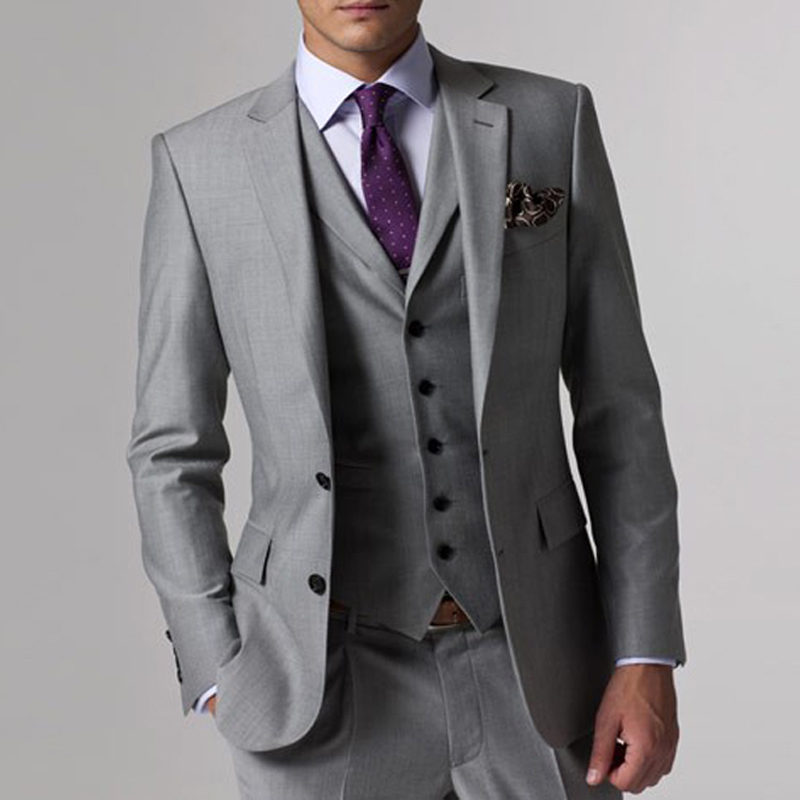 Gray Business Mens Suits with Notched Lapel 3 Piece Formal Wedding Groomsmen Tuxedo for Prom Male Fashion Set Jacket Pants Vest 6