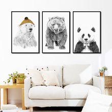Декор картина современный стиль милые животные панда полярный