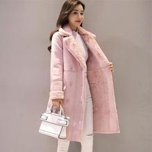 abrigo Women Long Coat Autumn Winter Warm Velvet Thicken Faux Suede Coats Parka Female Solid Double Breasted Jacket Outwear 3XL faux suede double breasted coat