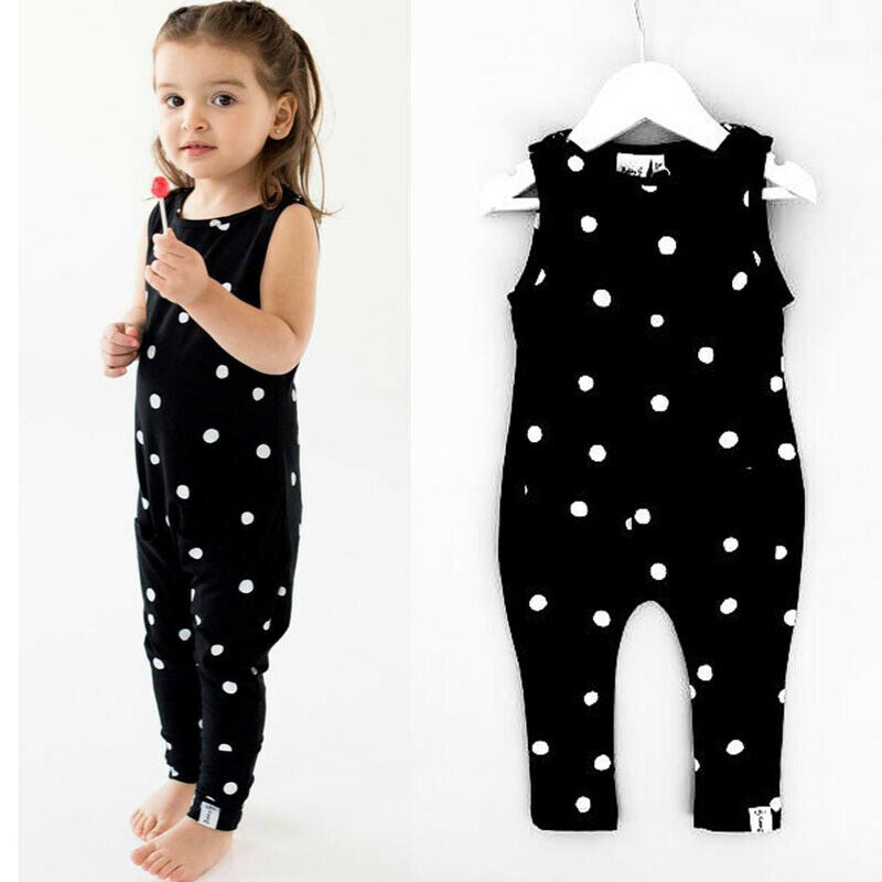 Newborn Baby Girl Infant Clothes Overall Bib Pants Polka Dot