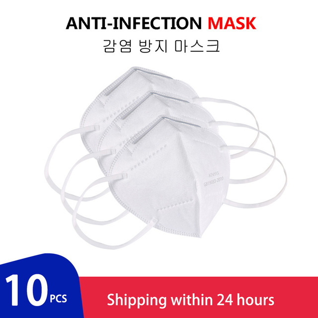 10pcs Medical N95 Mask Anti Air Dust Face Mask Mouth 95% Filtration Windproof Proof Flu Masks Protective Respirator Reusable