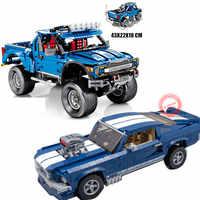 New MOC Ford F-150 Raptor Pickup Truck Fit Legoings Technic Car Ford Mustang Building Blocks Bricks Kid Gift Toy Car Set Boy