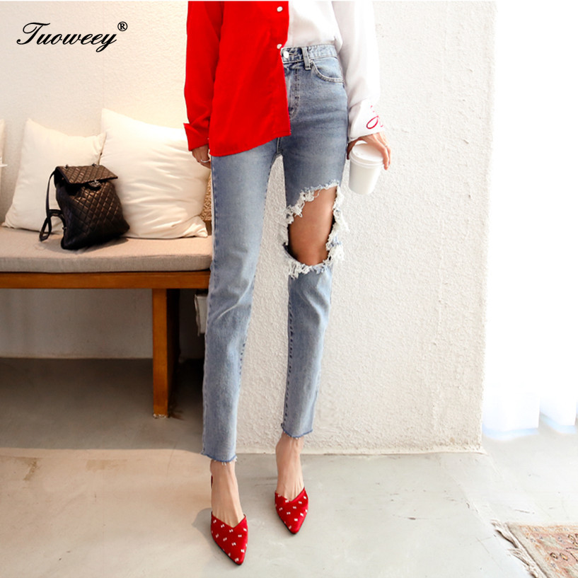 New 2019 Skinny Jeans Women Denim Pants Holes Destroyed Knee Pencil Pants Casual Trousers Black White Hole Stretch Ripped Jeans