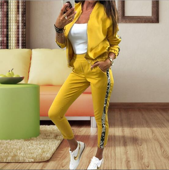 Gilding Fashion Pant Suits 2 Piece Set Women Zipper Open Yellow Armygreen Blazer Jacket & Trouser Office Lady Suit Feminino 2019