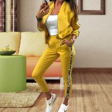 Gilding Fashion Pant Suits 2 Piece Set Women zipper open yel