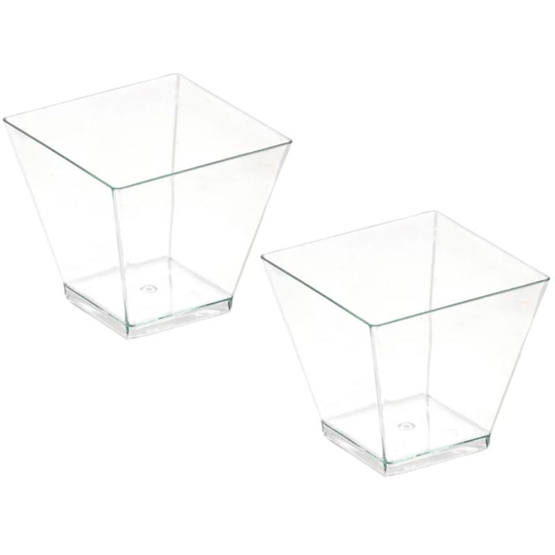 50/100pcs Square Dessert Cups Mini Plastic 2oz Clear Party Transparent Dessert Wedding Decor Cup DC120