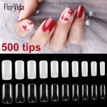 FlorVida Square Full Nail Tips False 10 Sizes Fake DIY Beauty Art Manicure Decoration