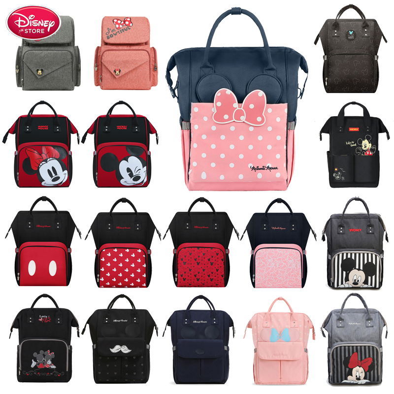 Disney Mummy Diaper Bag Backpack USB Bottle Insulation Bags Minnie Mickey Big Capacity Travel Oxford Feeding Baby Care Handbag