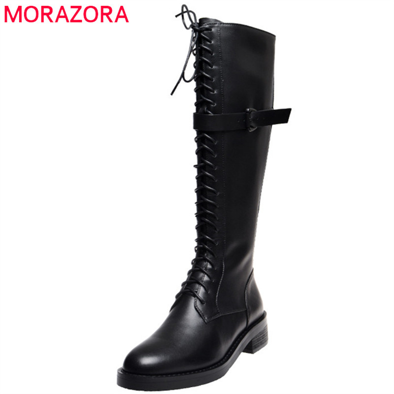 MORAZORA 2020 Newest knee high boots women genuine leather shoes round toe lace up zip punk Motorcycle Boots fashion shoes woman