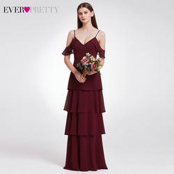 Элегантные платья подружки невесты Ever Pretty A-Line v-образным вырезом оборками Дешевые шифоновые длинные платья для свадебной вечеринки Vestidos