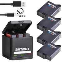 Batmax für GoPro Hero 8 7 6 5 Batterie 1600mAh + USB Triple Ladegerät für GoPro Hero 8 7 6 5 schwarz Akku GoPro 2018 Action Kamera