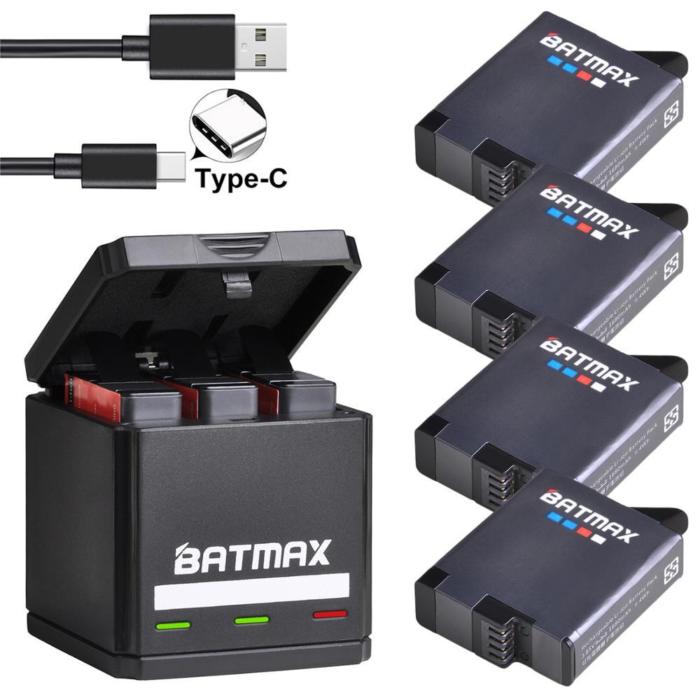 Batmax For GoPro Hero 8 7 6 5 Battery 1600mAh + USB Triple Charger Type C For GoPro Hero 8  GoPro 7 6 5 Black Akku  Cameras