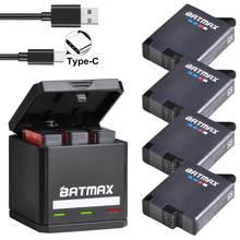Batmax per GoPro Hero 8 Hero 7 Hero 6 Hero 5 batteria Akku 1600mAh caricatore triplo USB tipo C per accessori per fotocamere GoPro